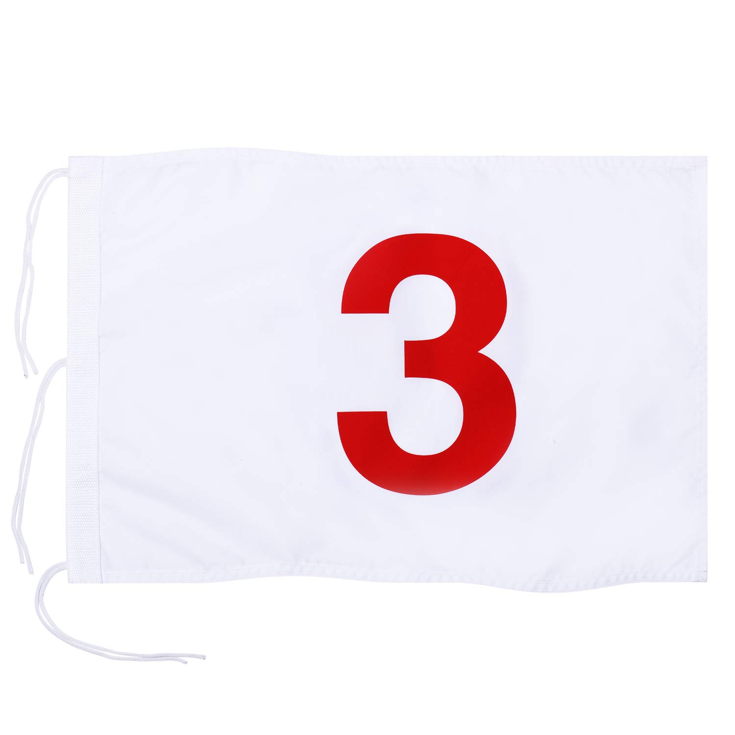 KINGTOP Numbered Golf Flag with Secure Strings, 13'' L x 20'' W, 420D Nylon, White 3 by KINGTOP