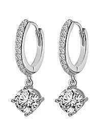 Siarola 18k White Gold Plated Swarovski Crystal CZ Zircon Wedding Hoop Dangle Drop Earrings E555-1