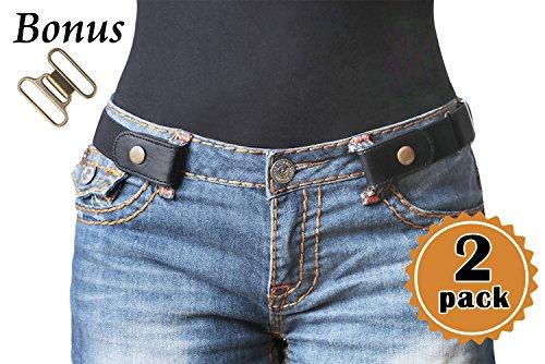 2 Pack No Buckle Stretch Belt For Women/Men Elastic Waist Belt Up to 48 for Jeans Pants