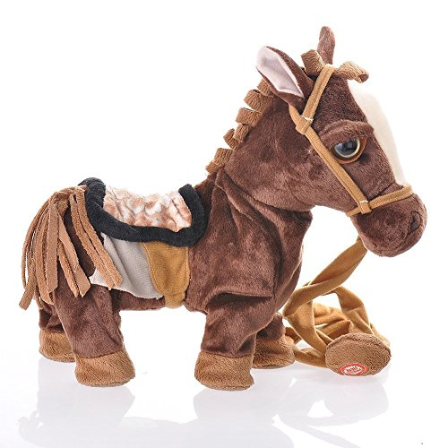 HiMango Children Electronic Pets Walking Horse Leash Remote Controlled Plush Toys with Music