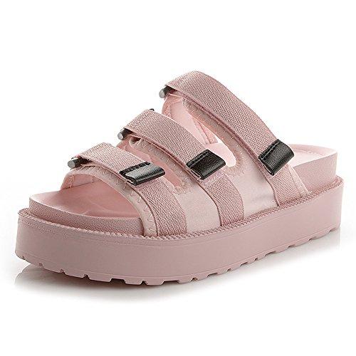 ZHIRONG Sandalias de verano de las mujeres de moda Plataforma impermeable punta abierta Zapatillas gruesas inferiores zapatos romanos Zapatos de estudiante Zapatos de playa 3.5 CM ( Color : Blanco , T Pink