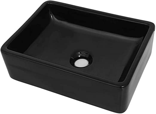 vidaXL Lavabo Céramique Rectangulaire Noir Vasque Salle de Bain Toilette