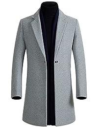 HOP FASHION Mens Long Wool Overcoat Winter Thicken Three Button Outwear Jacket