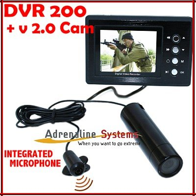 Portable DVR 200 + Sony 580 Helmet Camera ExView HAD CCD V 2.0 . Factory Integrated Stereo Microphone for Extreme Sports & tactical - military use. Long cable reach. Waterproof -