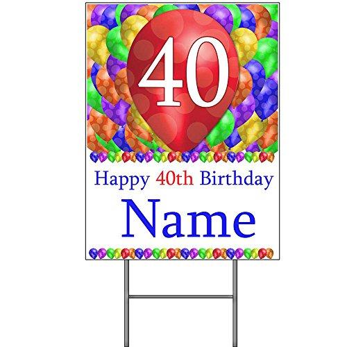 40TH CUSTOMIZED BALLOON BLAST YARD SIGN (EACH) Balloon Yard Sign