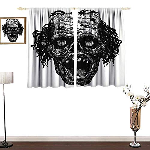 home1love Insulated Sunshade Curtain Halloween Zombie Head Evil Dead Man Portrait Fiction Creature Scary Monster Graphic Breathability W72 xL72