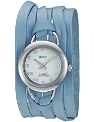 La Mer Collections Womens LMSATURN1508 Wedgewood Stainless Steel Watch with Blue Leather Wrap Band