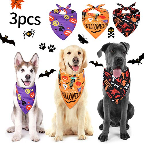 Dogs For Halloween (Frienda 3 Pieces Halloween Dog Bandanas Pet Bandana Pumpkin Pet Scarf Neckerchief Washable Dog Bibs for Dog and Cat, Orange, Purple and)