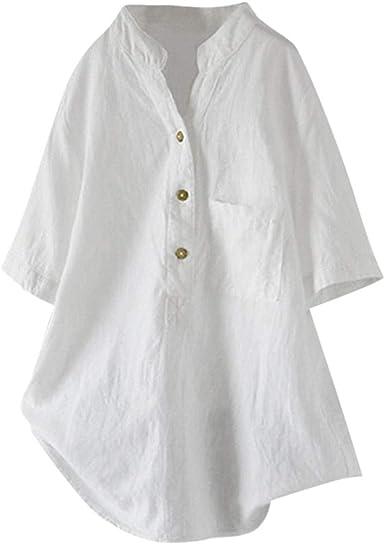 Newonesun - Blusa Larga de Lino y algodón para Mujer, Mangas Medias, con Botones, Estilo Casual - Blanco - X-Large: Amazon.es: Ropa y accesorios