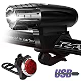 Bike Lights Set USB Rechargeable,Front and Back Lights,Power Beam Bright Headlight and FREE Rear Tail LED Bicycle Light,4 Light Mode Options, Water Resistant,for Road Cycling Safety Flashlights