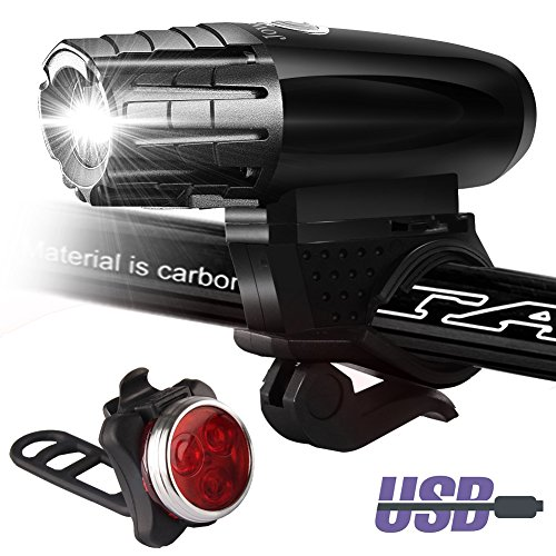 Power Beam Set - Bike Lights Set USB Rechargeable,Front and Back Lights,Power Beam Bright Headlight and FREE Rear Tail LED Bicycle Light,4 Light Mode Options, Water Resistant,for Road Cycling Safety Flashlights