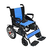 2019 New Mobility Mobile Wheelchair Electric Power Motorized Wheelchair Portable Folding Lightweight Electric Wheel Chair (Blue)