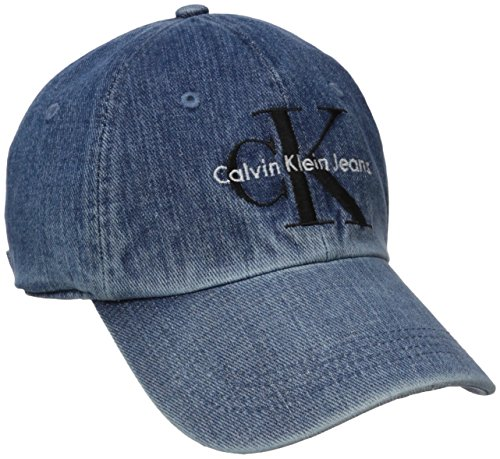 Calvin Klein Jeans Men's Denim Reissue Logo Baseball Dad Hat, Stone Wash, ONE SIZE