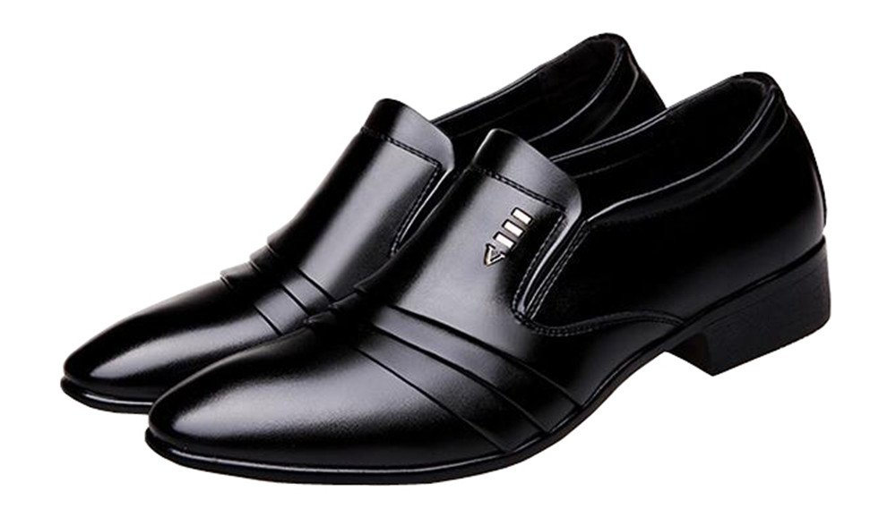missfiona Men's Pleated Patent Leather Plain Toe Slip On Business Evening Dress Shoes(6.5, Black)