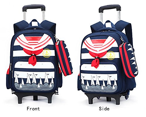 HIGOGOGO Naval Style Rolling Backpack with 2 Flash Wheels...