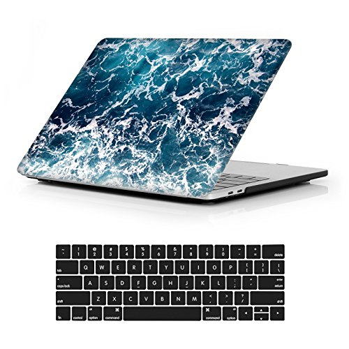 MacBook Pro 13 Case 2018 2017 2016 Release A1989/A1706/A1708, iCasso Hard Case Shell Cover and Keyboard Skin Cover for Apple Newest Macbook Pro 13 Retina with/without Touch Bar and Touch ID-Blue Sea