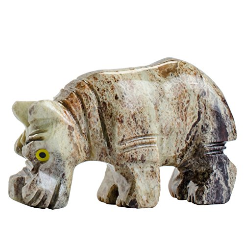 Hypnotic Gems Carvings: 1 pc Hand Carved Hippo Collectable Animal Figurine - Beautiful Unique Stone Carvings for Gifts, Party Favors, Jewelry Making, and (Hand Carved Hippo)