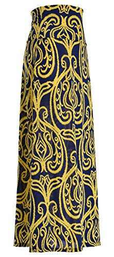 Womens Poly Span Chevron Floral Aztec Tribal Striped Printed Full Maxi Skirt (Medium, Crested Yellow on Navy)