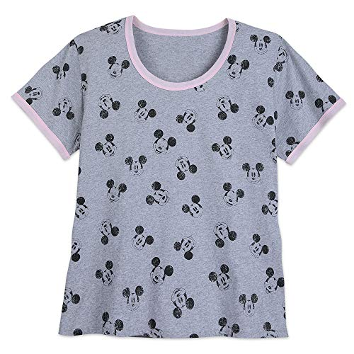 Disney Mickey Mouse Allover Ringer T-Shirt for Women - Extended Size Size Ladies 4XL