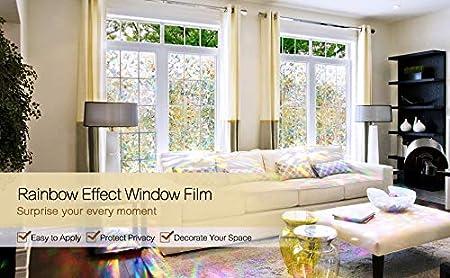 Rainbow 3D PVC 45 x 200CM INMOZATA Film Autocollant d/écoratif pour fen/être Effet Arc-en-Ciel Motif irr/égulier 45 x 200 cm