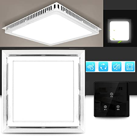 Multifuncional Square Ventilador Extractor silenciosa, 220v extractor de aire baño/Cocina, 40w Ventilador Extractor Instalación en el techo, Ventilación iluminación,White-A-touch-switch: Amazon.es: Hogar