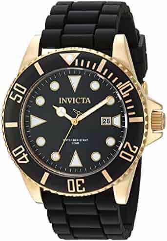 Invicta Men's Pro Diver Stainless Steel Quartz Watch with Silicone Strap, Black, 21 (Model: 90303)