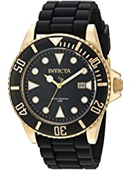 Invicta Mens Pro Diver Quartz Stainless Steel and Silicone Casual Watch, Color:Black (Model: 90303)