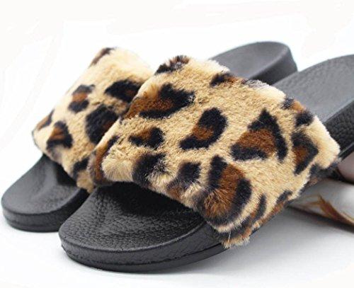 Slipper Diapositives Plat Femmes Chaussons Les Fourrure Sandal Fluffy Rawdah Léopard Flop Flip En Mesdames Slip Sur Fausse UBxq7Y