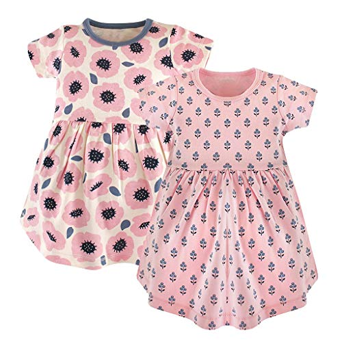 - LiLiMeng Children's Soft Summer Cotton Short Sleeve Striped Print and Solid Color Skirt Dress 2PC T-Shirt Dress Pink,Black