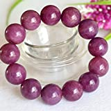 1 Strands Natural Purple Red South Africa Ruby Stretch Bracelet Round Big beads 17.5mm 04364
