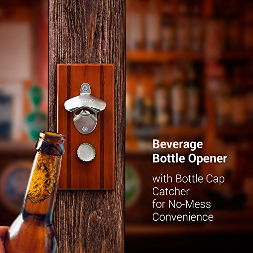 Magnetic Wall Mounted Beverage Bottle Opener With Bottle