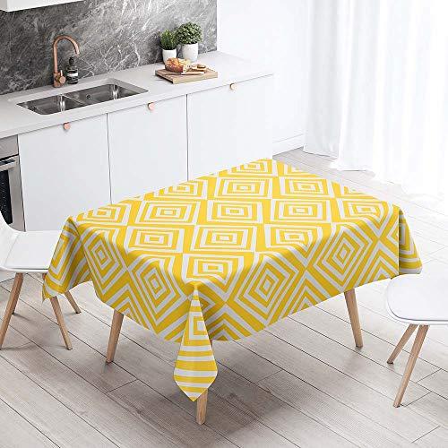 Mantel para Mesa Impermeable Antimanchas, Chickwin Patron Geometrico de Celosia Cocina Comedor Rectangular Resistente al Desgaste Lavable Mantel de Poliester (Rejilla amarilla,140x240cm)