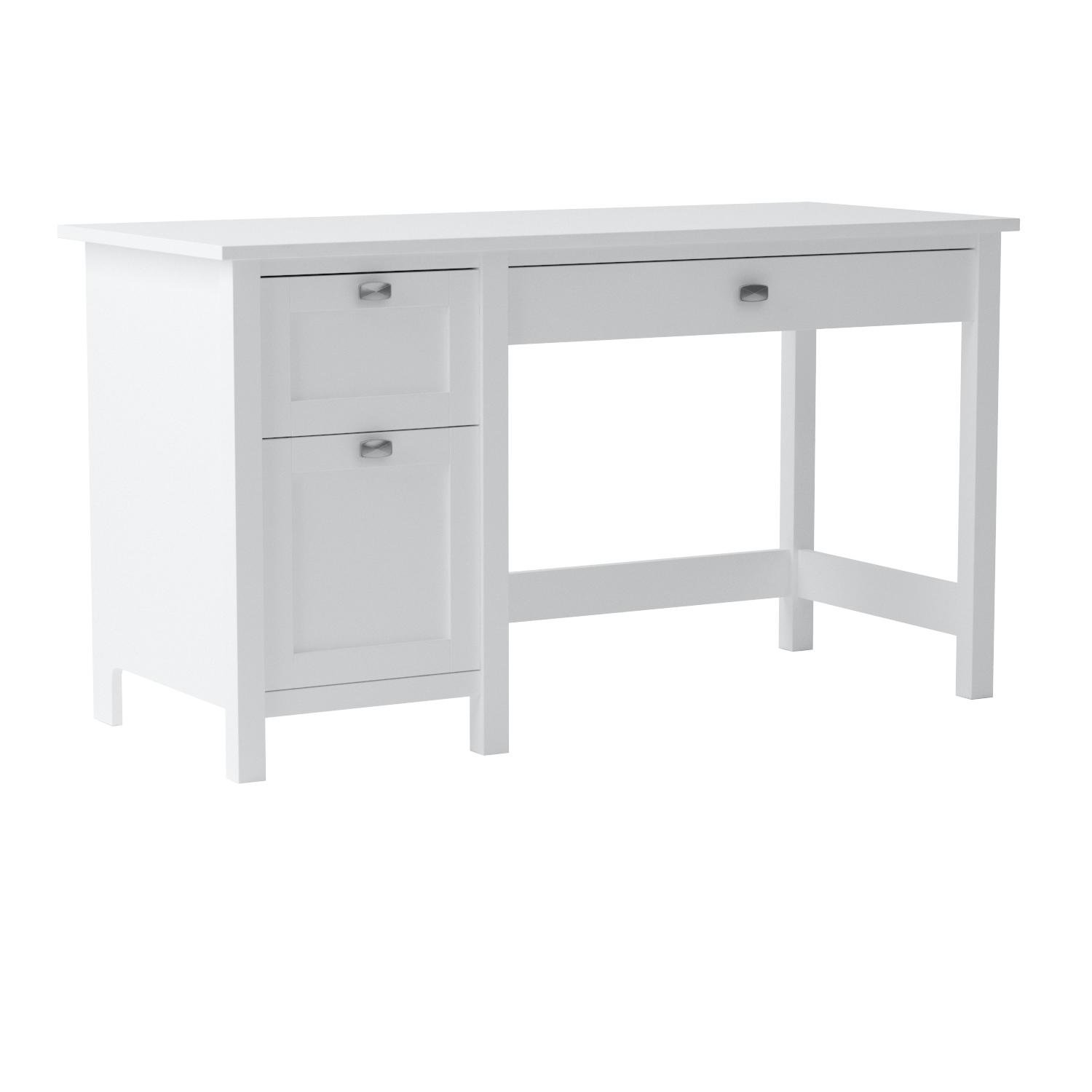 Bush Furniture Broadview Computer Desk with Drawers in Pure White by Bush Furniture