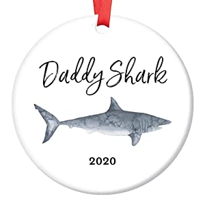 "Daddy Shark Gift Ornament 2020 Holiday Amusing Ceramic Christmas Keepsake Present for Dad Father Papa from Son Daughter Children Kids 3"" Flat Porcelain Collectible with Red Ribbon & Free Gift Box"