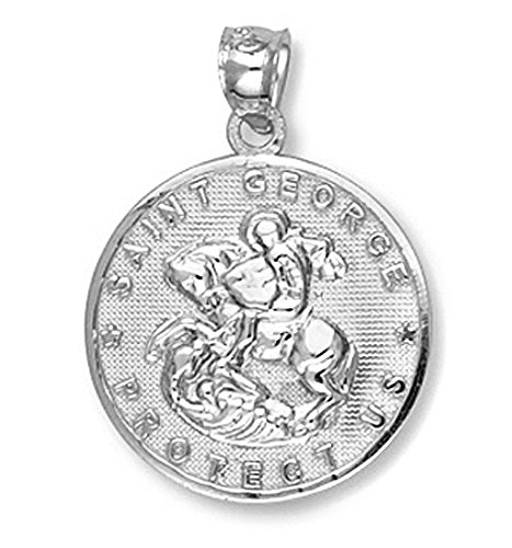 10 ct 471/1000 Or Blanc Sankt Georg- Pendentif