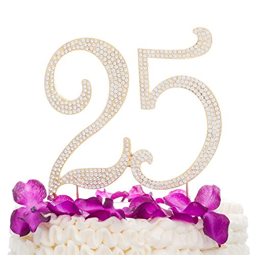 Ella Celebration 25 Cake Topper for 25th Birthday or Anniversary Gold Party Supplies Decoration Ideas (Gold) -