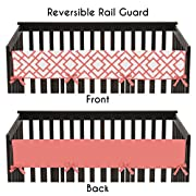Sweet Jojo Designs Baby Crib Long Rail Guard Wrap Cover Teething Protector for Modern White and Coral Diamond Girls Geometric Bedding Collection
