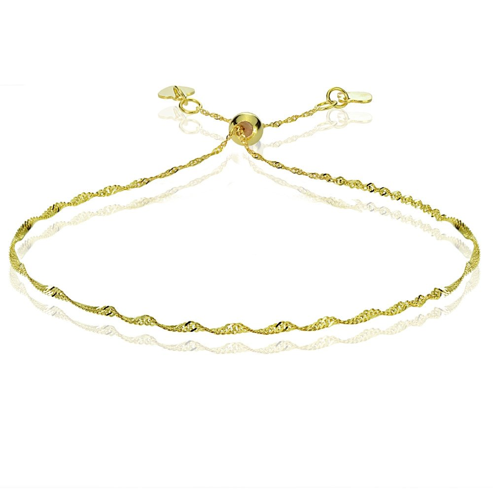 Bria Lou 14k Yellow Gold 1.4mm Italian Singapore Adjustable Chain Bracelet, 7-9 Inches