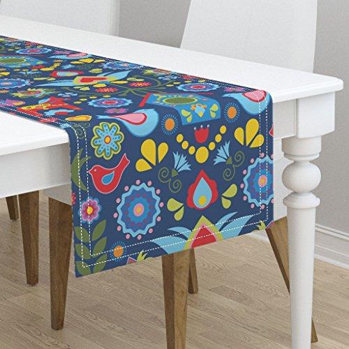 Folk Art Birdhouses - Table Runner - Scandi Mod Birdhouse Folk Art Floral Bird Flowers Swedish Folk Art Scandinavian by Linziloop - Cotton Sateen Table Runner 16 x 72