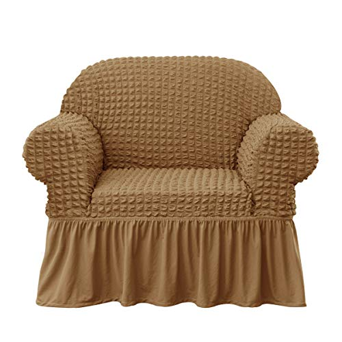 subrtex Stretch Chair Cover Skirt Style Couch Slipcover 1 Piece Universal Seersucker Armchair Protector with Ruffle Skirt Country Style Durable All-Purpose Furniture Cover(Almond) (Loveseats Style Country)