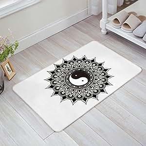 Alfombrillas antideslizantes para interior y exterior Mandala Tai Chi Yingyang, color negro y blanco