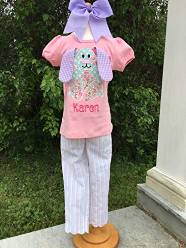 Girls Easter Outfit Seersucker Pants and Bunny Top Little Girls Personalized Bunny Shirt and Seersucker Scallop Capri Pants