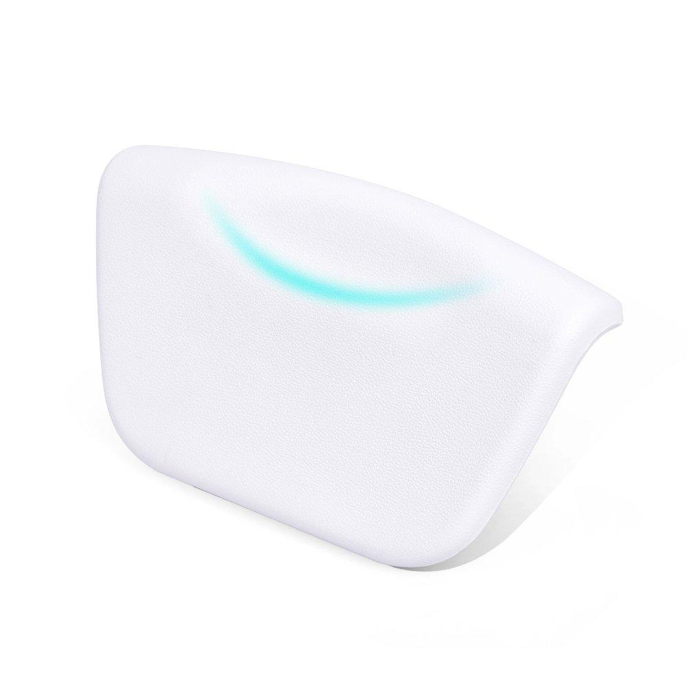 Gdaya Cuscino Bagno, Morbido ed Ergonomico Vasca da Bagno Cuscino per Testa e Collo Impermeabile Bath Pillows con 2 Potenti Ventose Antiscivolo Adatto a Qualsiasi Modello di Vasca Bianco
