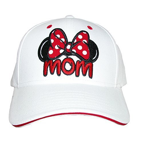 Disney Womens Minnie Mouse Mom Fan Baseball Hat, White ()