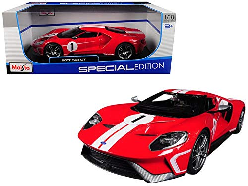 2017 Ford GT #1 Red Heritage Special Edition 1/18 Diecast Model Car by Maisto 31384 - Special Edition Diecast Model