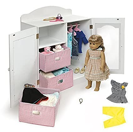 18 Inch Doll Clothing Storage Unit Closet Armoire Perfect For All Your Dollu0027s  Clothes, Shoes