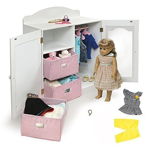 18 Inch Doll Clothing Storage Unit Closet Armoire Perfect for All Your Doll's Clothes, Shoes, Accessories and More with Bonus Outfit and Doll Charm Bracelet From The Mikailyn Doll Collection