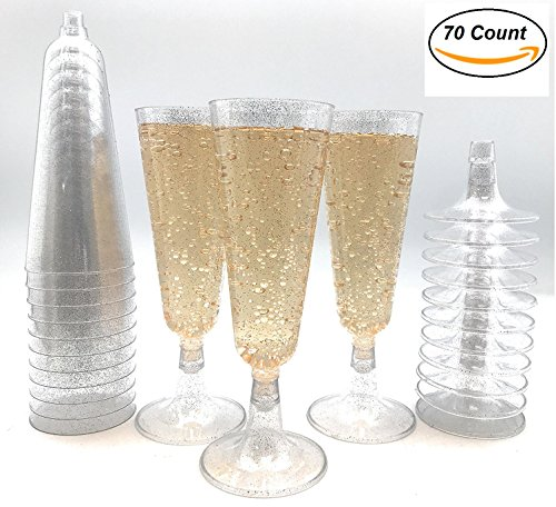 70pc Silver Glitter Plastic Classicware Glass Like Champagne Wedding Parties Toasting Flutes Party Cocktail (Wedding Party Glasses)