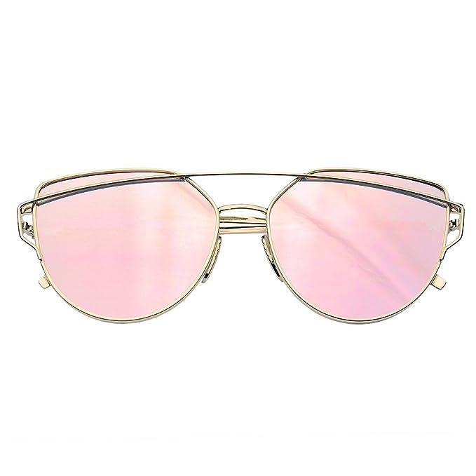 Emblem Eyewear - Lentes Planas De Espejo De Ojos De Gato Lentes De Sol De Aviador Marco De Metal Persianas De Mujer