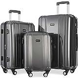 Merax Luggage 3 Piece Sets ABS+PC Expandable Luggage Set with TSA Lock (DarkGrey)